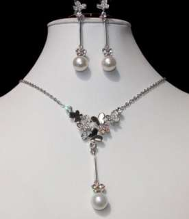 Bridal Jewelry Wedding Necklace Earrings Set Pearl