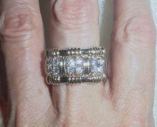14K YG ESTATE DIAMOND WIDE BAND WEDDING RING   SIZE 6.75   LB1704