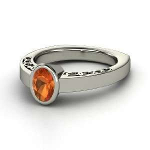 Oval Fire Opal Sterling Silver Ring, Oval Fire Opal