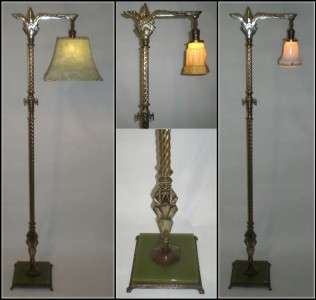 REMBRANDT CAST METAL ART DECO FLOOR LAMP w/ JADE GLASS INSERT
