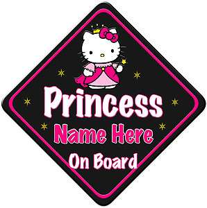 Hello Kitty Princess Child Baby on Board Car sign Black