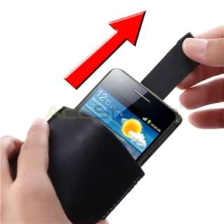 Black Pull Up Leather Pouch Case Cover For Samsung Galaxy S2 II i9100