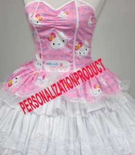 Sweet Gothic Lolita pink Cosplay Hello Kitty Pattern 7 Ballroom Corset