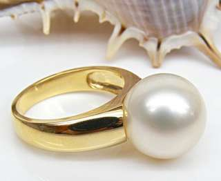 Sea White Pearls Solid 14K Yellow Gold Solitaire Ring 5.65g