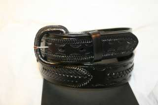 Western Tooled Genuine Leather Mens Belt Black Braided Accents