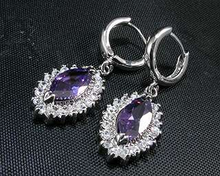 17mm Marquise Cut Purple Amethyst White Gold P Earrings