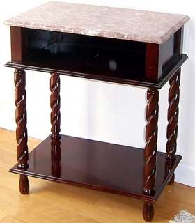 Marble Top Oak / Cherry Wood TV Stand Side Table NEW