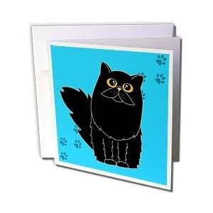 Salak Designs Cats   Black Long haired / Persian Cat Blue Paw print