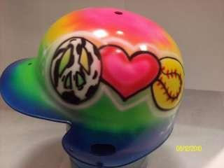 Airbrush multi peace love softball helmet airbrushed baseball