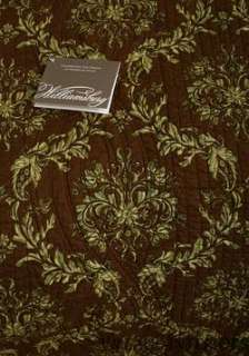 WINDSOR DAMASK BROWN & GREEN TOILE OVERSIZE CAL/ KING QUILT COTTON