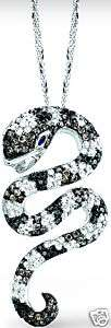 14K White Gold Black Diamond Snake Pendant Necklace