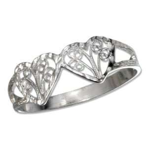 Silver Filigree Hearts Ring with Diamond Cuts (size 10). Jewelry