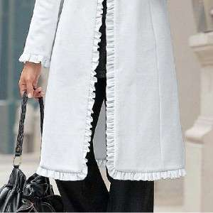 womens winter white wool coat ruffle jacket plus size 3X $300 new