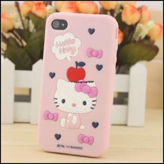 Pink Hello Kitty cute fashionable 3D Soft Silicone Case Cover For
