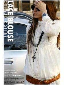 Lady Boho Hippie Style Lace Blouse Long Top Luau White