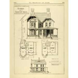 1873 Print Victorian Country House Architecture Blueprints Floor Plans