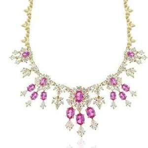 Zirconia Pink Sapphire ESTATE Necklace Gold plated Glitzs Jewelry