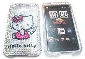 Hello kitty Rhinestone Bling Case for HTC HD2 Leo T8585