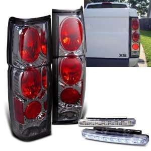 86 97 Nissan Hardbody Smoked Rear Tail Brake Lights + 8 LED Bumper Fog