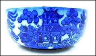 LOVELY Antique ROYAL Doulton FLOW Blue WILLOW Porcelain BOWL England