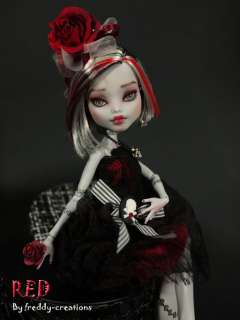 OOAK Custom Repaint Monster High Frankie *RED* + Valentine Dress Set