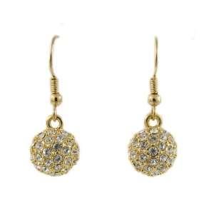 Ice Ball Swarovski Crystal 18K Gold Plated Hook Earring