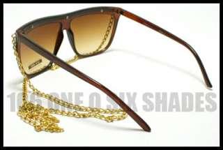 CELEBRITY Pop Star Gold CHAIN Sunglasses Lady 80s Retro Flat Top
