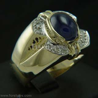 Natural Sapphire Diamonds Solid Gold Mens Ring r00060