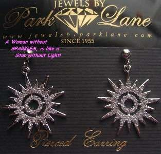 Park Lane SUNBURST EARRINGS Swarovski Crystals Dangle Cut CZ Star $94