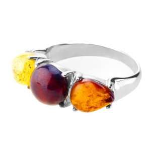 ANYA Sterling Silver Ring Studded with Amber: Jewelry