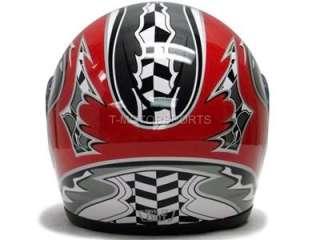 FULL FACE MOTORCYCLE STREET HELMET SPORT BIKE RED RACING FLAG DOT ~S
