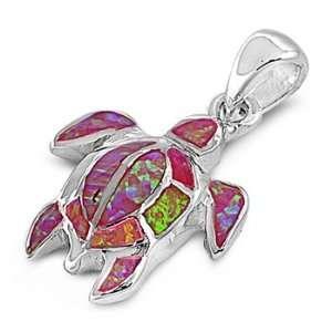 Sterling Silver & Pink Opal Sea Turtle Pendant Jewelry