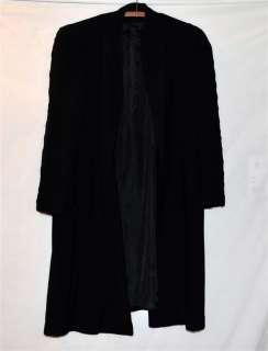 Vintage 1940 Black Wool Swing Coat With Raised Wavy Design Sleeves