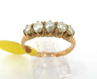 Antique 5 x Pearl & 14K Solid Pink Gold Ring Size 4.5