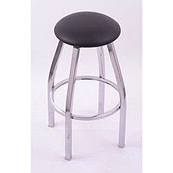 25 inch Backless Counter Swivel Stool with Black Vinyl Cushion Seat
