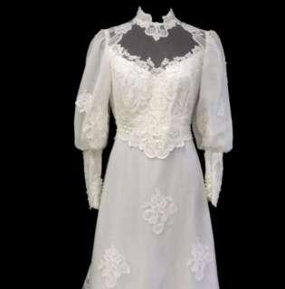 Edwardian Wedding Prom Bridal Gown Dress High Neck Bustle sz 14 L