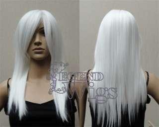 24 White Long Medium Straight Cosplay Costume Wig