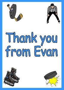 Ice Hockey Sport Birthday Party Thank You Note Cards Personalized