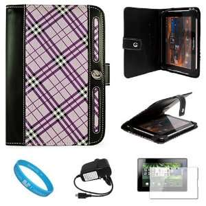 Executive Leather Carrying Case Cover, Purple Plaid for