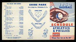 1952 Philadelphia Athletics & Phillies Baseball Schedule Shibe Park