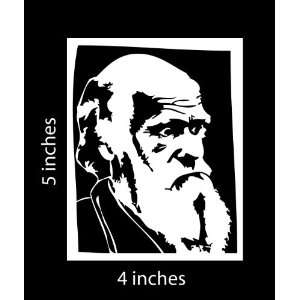 Charles Darwin Evolution Sticker Cut Vinyl Decal White