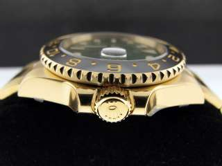 ROLEX GMT MASTER II 18K YELLOW GOLD GREEN DIAL CERAMIC BEZEL   116718