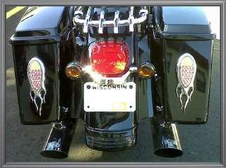 Chrome Flame 51 LED Tail, Brake, Turn Signal Light for Harley