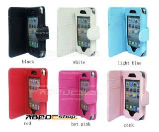 Wallet Flip Leather Case Cover For APPLE iPhone 4 4G