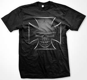 Iron Chopper Templar Cross With Dark Skull Biker Gothic Death Mens T