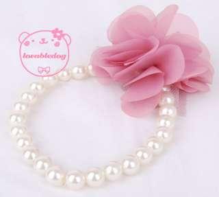 Dog Cat Pet Pearls Necklace silk Flower Jewelry S M L