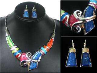Fashion Style Charming Silver Plated Enamel Crystal Pendant Necklace