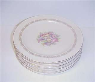 ANTIQUE EDWIN KNOWLES LUNCHEON PLATES SET OF SEVEN 1937 |
