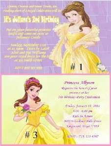 PERSONALIZED princess Belle BIRTHDAY INVITATIONS OR THANK YOU CARDS