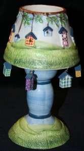 BIRDHOUSE Ceramic Tea Light Candle Lamp w/tiny birdhouses NEW